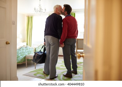 Middle aged male couple kissing in a hotel room, back view