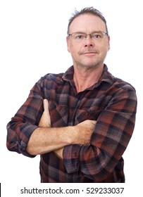 Middle Aged Man with Arms Folded isolated on white background