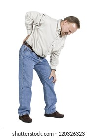 Middle aged man with back pains