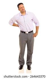 middle aged man having back pain isolated on white background