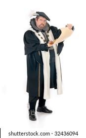 Middle aged man imitator dressed as Shakespeare.  Studio, white background
