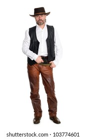 Middle aged man in leather pants with a gun.