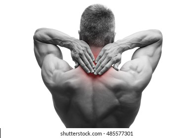 Middle aged man with pain in neck, muscular male body, studio isolated shot on white background with red dot, black and white photography