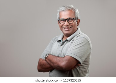 Middle aged man with pleasant face expression