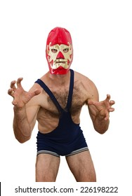 middle aged man with professional wrestling mask on white background