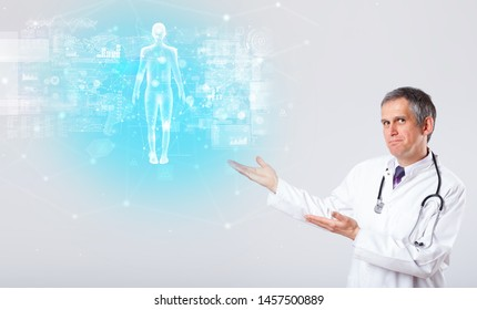 Middle aged scientist with full body map concept