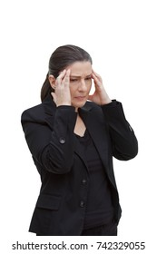 Middle aged woman with chronic pain syndrome fibromyalgia suffering from acute headache, isolated on white background
