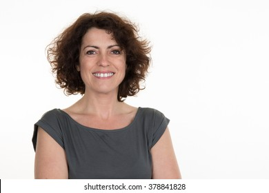Middle aged woman isolated on a white background