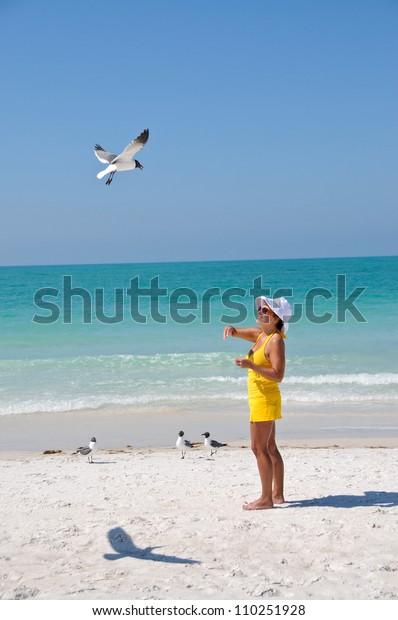 Middle Aged Woman on the Beach Feeding Seagulls