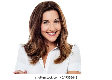Middle aged woman with welcoming smile