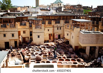 Middle Ages Tanneries in Old Medina Historical Downtown of Fez Morocco