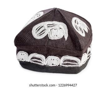 Middle Asian (Turkmen, Uzbekistan, Kazakhstan) skullcap isolated on a white background