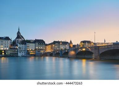 Middle bridge over Rhine river, Basel, Switzerland.