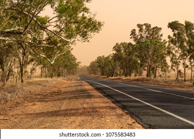In the middle of a dust storm while driving along the Goldfields Way between Wagga Wagga and Temora, New South Wales