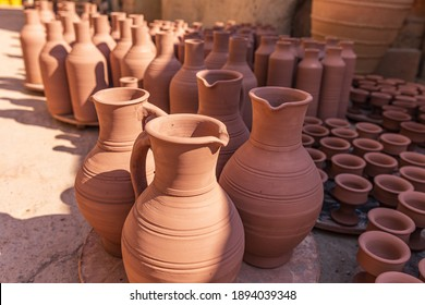 Middle East, Arabian Peninsula, Oman, Ad Dakhiliyah, Bahla. Oct. 23, 2019. Pots at the Aladawi pottery factory in Oman.