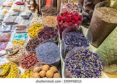 Middle East, Arabian Peninsula, Oman, Ad Dakhiliyah, Nizwa. Dried food and herbs for sale in the souk in Nizwa, Oman.