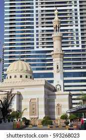 Middle east mosque in the modern downtown