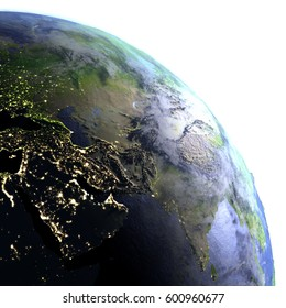 Middle East on model of Earth. 3D illustration with realistic planet surface and visible city lights. Elements of this image furnished by NASA.