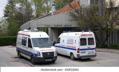 MIDDLE EAST TECHNICAL UNIVERSITY, ANKARA, TURKEY - APRIL 13, 2016: View of Health Center with METU Ambulances