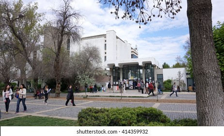 MIDDLE EAST TECHNICAL UNIVERSITY, ANKARA, TURKEY - APRIL 13, 2016: Library at busy lunch break hours