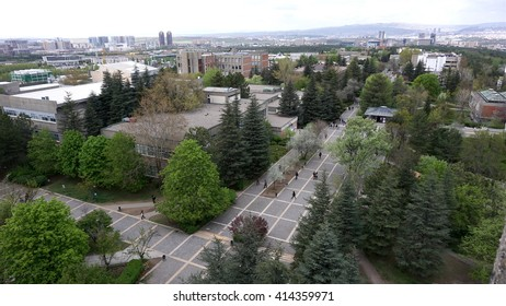 MIDDLE EAST TECHNICAL UNIVERSITY, ANKARA, TURKEY - APRIL 13, 2016: Scene of Campus and its periphery from above