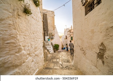 The Middle Eastern atmosphere of an alleyway in Ostuni, The White City