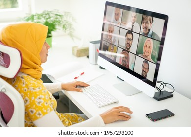 Middle Eastern businesswoman having the online conference