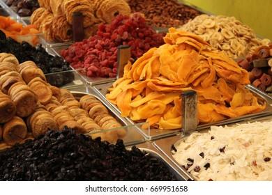 Middle eastern dried fruits in Machane Yehuda market, Jerusalem, Israel