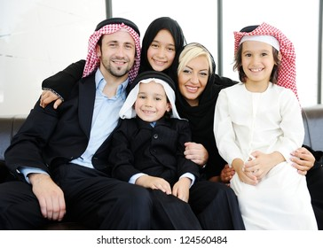 Middle eastern family, father and mother with kids
