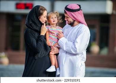 Middle eastern family outdoor.Arabic family.