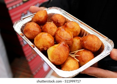 Middle Eastern fried doughball sweets photographed in Sharjah