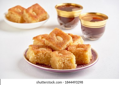 Middle eastern semolina sweets basbousa , namoora, hareesa