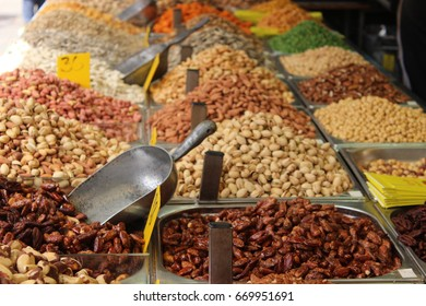 Middle eastern spices, dried fruits and nuts in Machane Yehuda market, Jerusalem, Israel