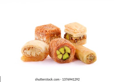 Middle eastern, Turkish sweet pastry baklava isolated on white background