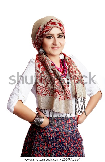 middle eastern woman isolated on white