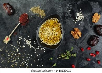 Middle Eastern Za'atar Salad Dressing on Black Background