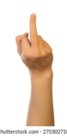 """Middle finger, offensive gesture. """"Fuck you"""" sign"""