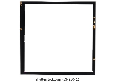 Middle format analog film frame on white