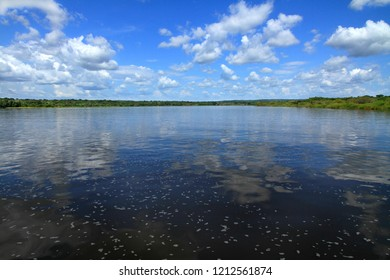 The middle of the Nile river in Uganda as seen from a river cruise boat in Murchison Falls National Park