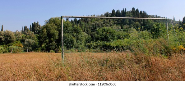 In the middle of nowhere stands the last evidence of an old small footballfield, only the goals were visible.