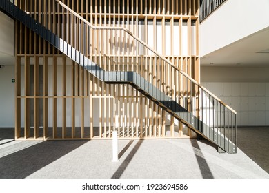 In the middle of an open office, this beautiful staircase connects the 1st and 2nd floor