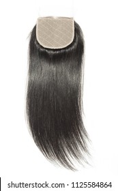 middle part straight black human hair weaves extensions lace closure