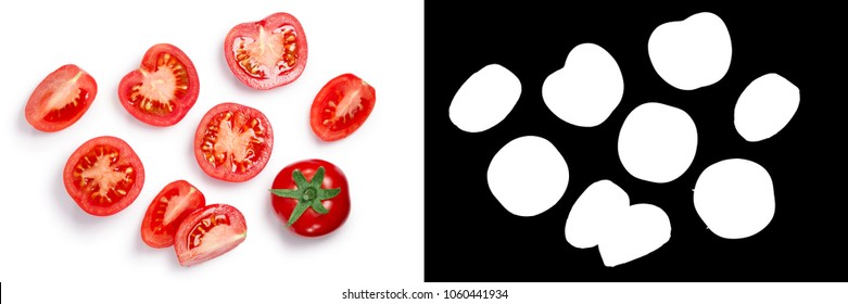 Middle sized globe tomatoes, whole and sliced, top view. Clipping paths, shadow separated