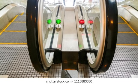middle view of escalator from top