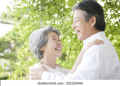 An middle-age couple staring at each other