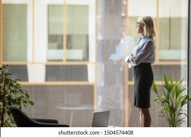 Middle-aged 60s businesswoman take break resting standing looking out panoramic window dreaming about future new successful projects corporate goals realizations, business vision and ambitions concept