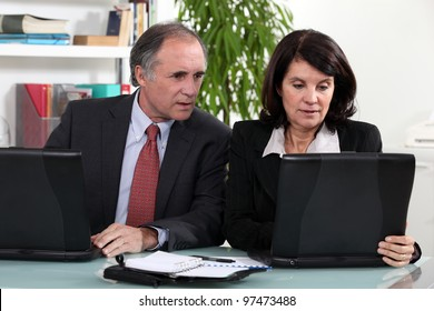 Middle-aged business partners