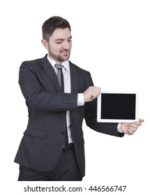 middle-aged businessman with blue suit showing tablet