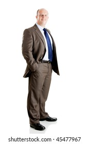 Middle-aged businessman portrait isolated on white background