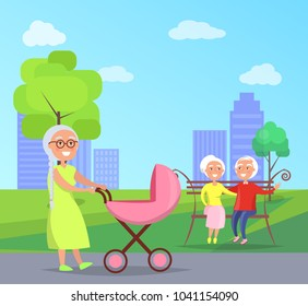 Middle-aged couple sitting on bench together, granny walk with newborn infant carrying her in pram on background of skyscrapers in city park